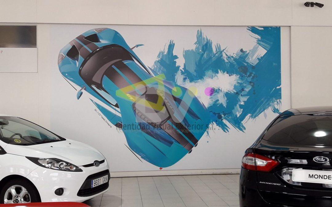Foto mural vinilo sobre pared